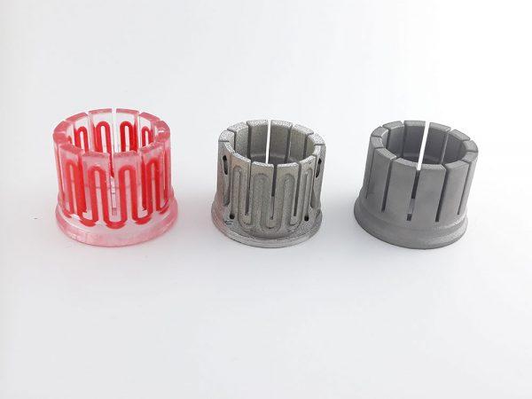 3D принтиран метален детайл с охладителни канали